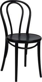 Stoel 18, beukenhout, zwart gelakt, houten zitting