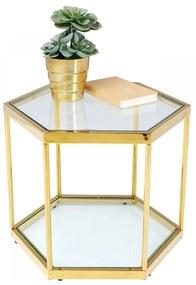 Kare Design Comb Gold Zeshoekige Bijzettafel Goud 55 Cm - 55 X 55cm.