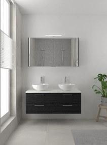 Combo badmeubelset 120 cm | spiegelkast bovenblad wit marmer - zwart eiken