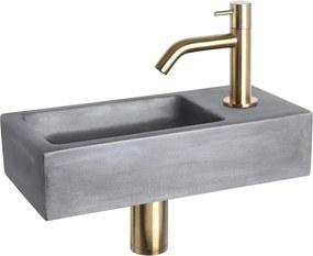 Fonteinset Differnz Ravo Rechthoek 38.5x18.5x9 Beton Donkergrijs Gebogen Toiletkraan Clickwaste Sifon Geborsteld Goud