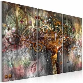 Schilderij - Gouden Boom ,  3 luik , multi kleur