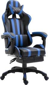 Gamestoel met voetensteun kunstleer blauw