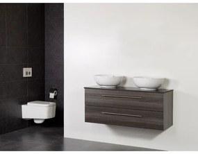 Saniclass Legno badmeubelset 119x50x45.5cm Kos waskom 0 kraangaten 2 wasbakken 2 lades zonder spiegel met softclose MFC antracite LEGNO190