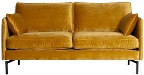2,5-zits bank Zinnia   velours Juke goudgeel 132   1,73 mtr breed
