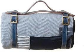 Picknickkleed wol: grijs visgraat Zonder band