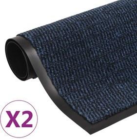 Droogloopmatten 2 st rechthoekig getuft 90x150 cm blauw