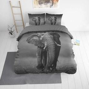 DreamHouse Bedding Elegant Elephant - Antraciet 1-persoons (140 x 220 cm + 1 kussensloop) Dekbedovertrek