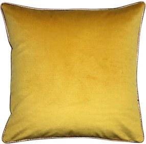 Kussen geel met piping, vierkant, XL, Croc Zonder binnenkussen