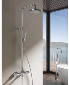 Hotbath SDS3 Get Together thermostatische douche opbouwset inclusief 2-wegs omstel met staafmodel handdouche met 25cm ronde hoofddouche Nikkel Geborsteld SDS3GN4