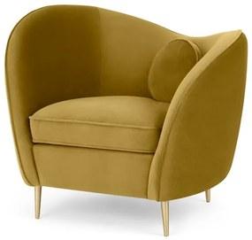 Kooper fauteuil, vintage goud fluweel