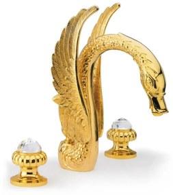 Wastafelmengkraan 3-gats Sapho Crystal 2-knop Zwaan 32 cm Goud (incl. waste)