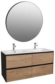 Adema Industrial Badmeubelset 120x45.5x58cm met overloop inclusief zwarte ronde spiegel hout/zwart Industrial-120