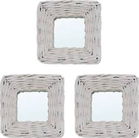 Spiegels 3 st 15x15 cm wicker wit