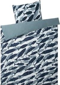 Satijnen dekbedovertrek 140 x 200 cm Blauw/vissen