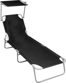 Ligbed inklapbaar met luifel aluminium zwart