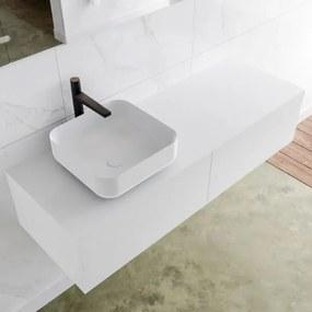 MONDIAZ LAGOM 130cm badmeubel solid surface talc 2 lades Wastafel BINX opzetkom links 1 kraangat M64183TAM1M49903L