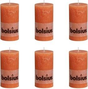 Rustieke Stompkaarsen 130 x 68 mm 6 stuks oranje