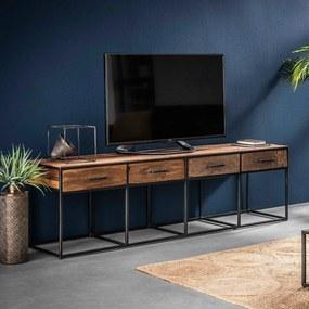 Tv-meubel Van Hardhout En Metaal 180 Cm - 180x40x50cm.