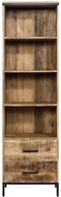 Boekenkast Trevor - bruin - 55x190x40 cm - Leen Bakker