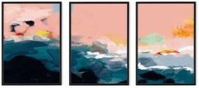 Abstract Landscape set van 3 ingelijste prints A2, meerkleurig