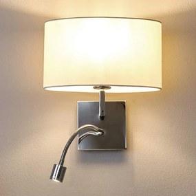 Witte stoffen wandlamp Karla met LED leeslamp