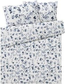 Draaibaar dekbedovertrek 200 x 200 cm Bloemen/blauw