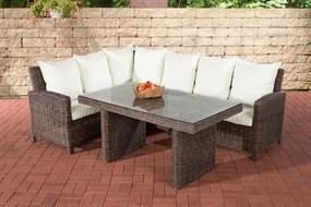 Wicker Poly rotan lounge dining set BERMEO hoekbank + eettafel 140 x 80 cm 6 plaatsen - kleur van 5 mm rotan bruin gemeleerd overtrek gebroken wit