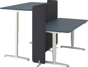 BEKANT Bureau zit/sta met afscherming 160x160 120 cm linoleum blauw/wit