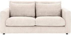 Goossens Bank Ravenia In Ribstof wit, stof, 2,5-zits, stijlvol landelijk