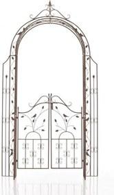 Rozenboog GRENADA met deur hoogte 235 cm breedte 100 cm diepte 36 cm - antiek-bruin