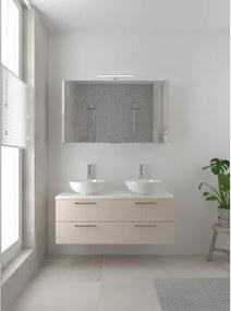 Bruynzeel Combo badmeubelset 120x45cm 2 wasbakken 2 lades met spiegelkast met softclose ceramic kasjmier grijs 123102623