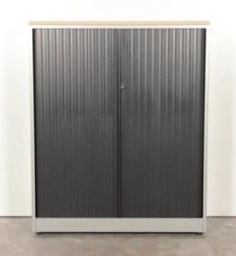 Roldeurkast, aluminium/zwart/nieuw topblad, 146 x 120 cm, incl. 3 legborden, gladde lamel *ster 2*