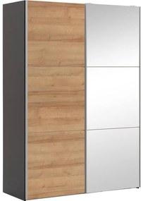 Goossens Kledingkast Easy Storage Sdk, 150 cm breed, 220 cm hoog, 1x 3 paneel schuifdeur li en 1x 3 paneel spiegel schuifdeur re