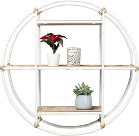 Kare Design Jungle Bamboe Wandrek Rond Wit - 60x16x60cm.