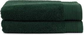 The One Towelling 2-PACK: Handdoek Deluxe - 70 x 140 cm - Donkergroen