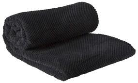 Plaid blokje - zwart - 130x170 cm