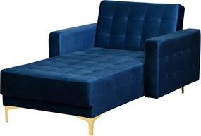 Chaise longue fluweel marineblauw ABERDEEN