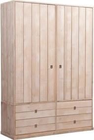Goossens Kledingkast Kajuit, 150 cm breed, 220 cm hoog, 2 draaideuren hout, 4 lades