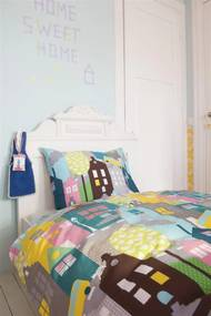 Beddinghouse   Dekbedovertrekset Houses eenpersoons: breedte 140 cm x lengte 200/220 cm + roze dekbedovertrekken katoen   NADUVI outlet