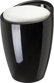 Woodynox badkamer stoel 24x50cm zwart met witte zitting WO3200