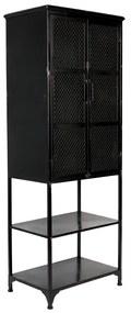 Dutchbone Denver Hoge Zwart Metalen Wandkast - 60x39x160.5cm.