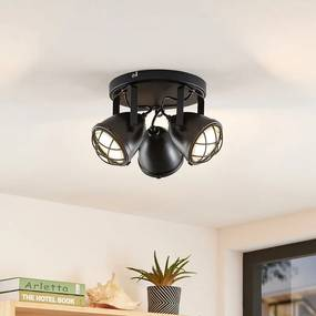 Biona LED plafondspot m. gouden ring, 3lps - lampen-24