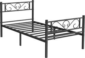 Nancy's Centralia Eenpersoonsbedframe - Metalen Bedframes - Zwart - Past op een matras van 90 x 190 cm