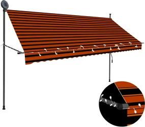 Luifel handmatig uittrekbaar met LED 300 cm oranje en bruin