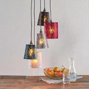Fluweel hanglamp Jules, rood/grijs/blauw, 5 lampen
