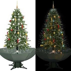 Kerstboom sneeuwend met paraplubasis 170 cm groen