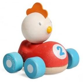 Auto met kip-coureur, rood, rubberhout