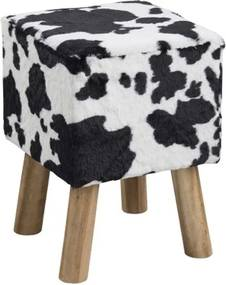 Vierkante Kruk Met Koeien Vacht Zitting