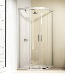 Huppe Design elegance schuif kwartrond 90x190cm r50 matzilver profiel en helder glas 8e3002087321