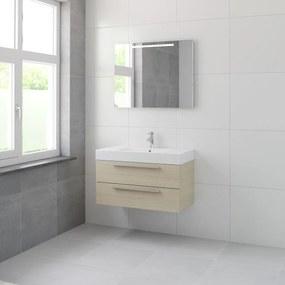 Bando badmeubelset 90 cm | spiegel | aluminium greeplijst- natuur eiken